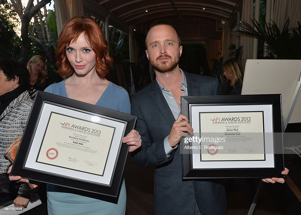 Honorees <a gi-track='captionPersonalityLinkClicked' href=/galleries/search?phrase=Christina+Hendricks&family=editorial&specificpeople=2239736 ng-click='$event.stopPropagation()'>Christina Hendricks</a> and <a gi-track='captionPersonalityLinkClicked' href=/galleries/search?phrase=Aaron+Paul+-+Actor&family=editorial&specificpeople=693211 ng-click='$event.stopPropagation()'>Aaron Paul</a> attend the 14th annual AFI Awards Luncheon at the Four Seasons Hotel Beverly Hills on January 10, 2014 in Beverly Hills, California.