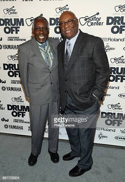 Honorees Clyde Stubblefield and John 'Jab'o' Starks attend Guitar Center's 28th Annual DrumOff Finals Event at The Novo by Microsoft on January 14...