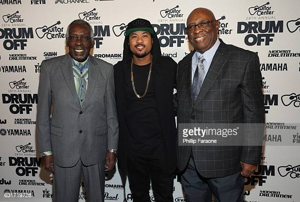 Honorees Clyde Stubblefield John 'Jab'o' Starks and drummer Tony Royster Jr attend Guitar Center's 28th Annual DrumOff Finals Event at The Novo by...