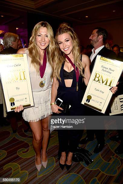 Honorees Colbie Caillat and Rachel Platten pose with awards at The 64th Annual BMI Pop Awards honoring Taylor Swift and songwriting duo Mann Weil at...