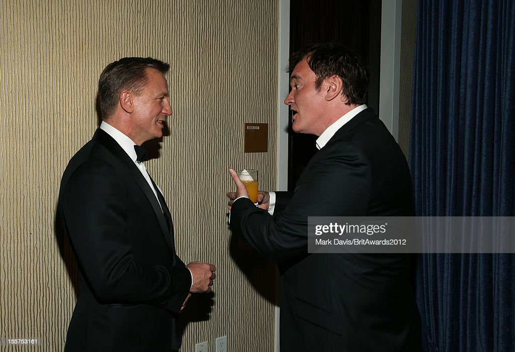 Honorees Daniel Craig and <a gi-track='captionPersonalityLinkClicked' href=/galleries/search?phrase=Quentin+Tarantino&family=editorial&specificpeople=171796 ng-click='$event.stopPropagation()'>Quentin Tarantino</a> pose in the Honoree Green Room during the 2012 BAFTA Los Angeles Britannia Awards Presented By BBC AMERICA at The Beverly Hilton Hotel on November 7, 2012 in Beverly Hills, California.