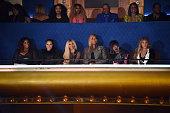 Honorees DJ Spinderella Cheryl 'Salt' James Sandra 'Pepa' Denton Queen Latifah Missy Elliott and Lil Kim watch show during the VH1 Hip Hop Honors All...