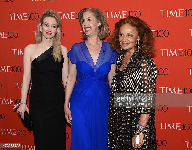 Honorees Elizabeth Holmes Managing Editor Time Magazine Nancy Gibbs and Diane von Furstenberg attend the Time 100 Gala celebrating the Time 100 issue...