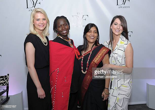Honorees Elizabeth Smart Kakenya Ntaiya Sohini Chakraborty and Taryn Davis attend the 2nd Annual Dillervon Furstenberg Awards at United Nations on...