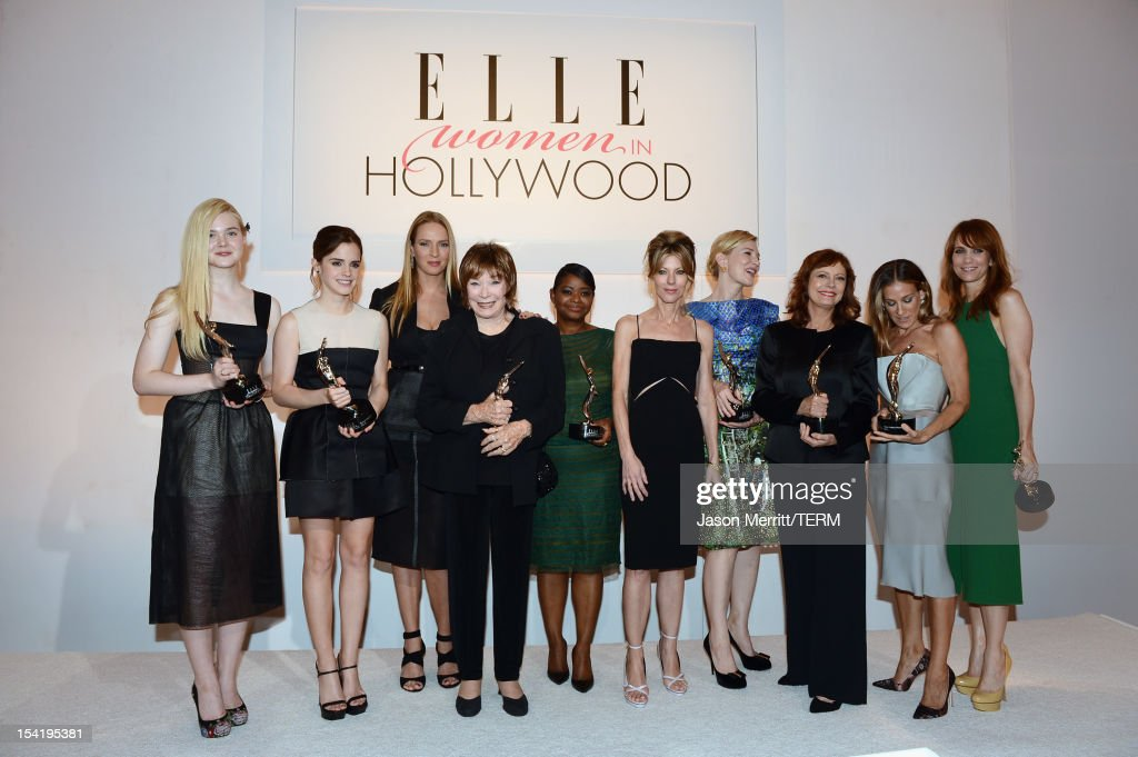 Honorees <a gi-track='captionPersonalityLinkClicked' href=/galleries/search?phrase=Elle+Fanning&family=editorial&specificpeople=2189940 ng-click='$event.stopPropagation()'>Elle Fanning</a>, <a gi-track='captionPersonalityLinkClicked' href=/galleries/search?phrase=Emma+Watson&family=editorial&specificpeople=171373 ng-click='$event.stopPropagation()'>Emma Watson</a>, <a gi-track='captionPersonalityLinkClicked' href=/galleries/search?phrase=Shirley+MacLaine&family=editorial&specificpeople=204788 ng-click='$event.stopPropagation()'>Shirley MacLaine</a>, ELLE Magazine Editor-in-chief <a gi-track='captionPersonalityLinkClicked' href=/galleries/search?phrase=Robbie+Myers&family=editorial&specificpeople=2260300 ng-click='$event.stopPropagation()'>Robbie Myers</a>, honorees <a gi-track='captionPersonalityLinkClicked' href=/galleries/search?phrase=Uma+Thurman&family=editorial&specificpeople=171973 ng-click='$event.stopPropagation()'>Uma Thurman</a>, <a gi-track='captionPersonalityLinkClicked' href=/galleries/search?phrase=Octavia+Spencer&family=editorial&specificpeople=2538115 ng-click='$event.stopPropagation()'>Octavia Spencer</a>, <a gi-track='captionPersonalityLinkClicked' href=/galleries/search?phrase=Cate+Blanchett&family=editorial&specificpeople=201621 ng-click='$event.stopPropagation()'>Cate Blanchett</a>, <a gi-track='captionPersonalityLinkClicked' href=/galleries/search?phrase=Susan+Sarandon&family=editorial&specificpeople=202474 ng-click='$event.stopPropagation()'>Susan Sarandon</a>, <a gi-track='captionPersonalityLinkClicked' href=/galleries/search?phrase=Sarah+Jessica+Parker&family=editorial&specificpeople=201693 ng-click='$event.stopPropagation()'>Sarah Jessica Parker</a> and <a gi-track='captionPersonalityLinkClicked' href=/galleries/search?phrase=Kristen+Wiig&family=editorial&specificpeople=4029391 ng-click='$event.stopPropagation()'>Kristen Wiig</a> attend ELLE's 19th Annual Women In Hollywood Celebration at the Four Seasons Hotel on October 15, 2012 in Beverl