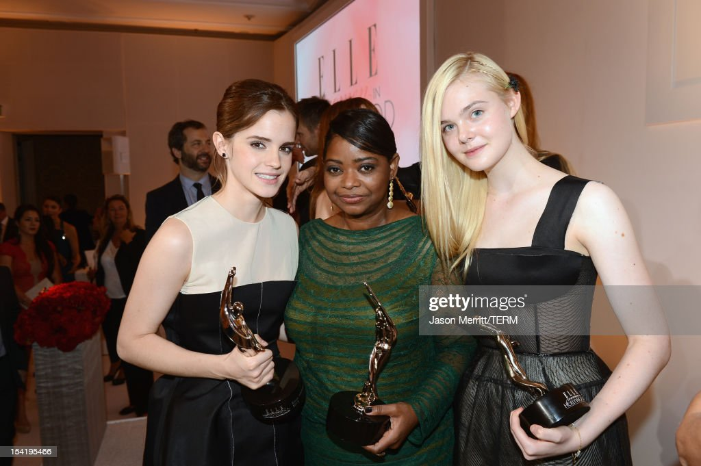 Honorees <a gi-track='captionPersonalityLinkClicked' href=/galleries/search?phrase=Emma+Watson&family=editorial&specificpeople=171373 ng-click='$event.stopPropagation()'>Emma Watson</a>, <a gi-track='captionPersonalityLinkClicked' href=/galleries/search?phrase=Octavia+Spencer&family=editorial&specificpeople=2538115 ng-click='$event.stopPropagation()'>Octavia Spencer</a> and <a gi-track='captionPersonalityLinkClicked' href=/galleries/search?phrase=Elle+Fanning&family=editorial&specificpeople=2189940 ng-click='$event.stopPropagation()'>Elle Fanning</a> attend ELLE's 19th Annual Women In Hollywood Celebration at the Four Seasons Hotel on October 15, 2012 in Beverly Hills, California.