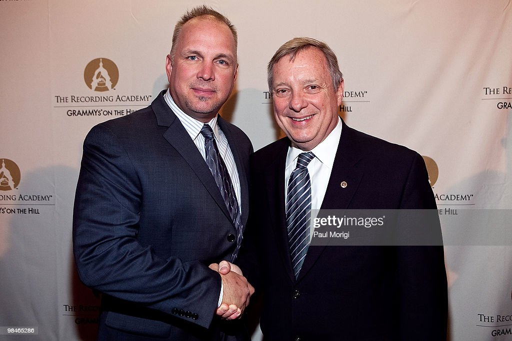 Honorees Garth Brooks and Sen Dick Durbin at the GRAMMYs on the Hill awards at The Liaison Capitol Hill Hotel on April 14 2010 in Washington DC