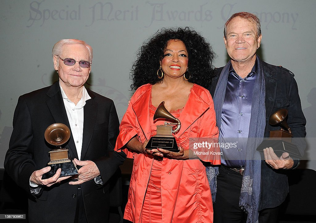 Honorees George Jones, Diana Ross, and Glen Campbell attend The 54th Annual GRAMMY Awards Special Merit Awards Ceremony and Nominee Reception at The Wilshire Ebell Theatre on February 11, 2012 in Los Angeles, California.