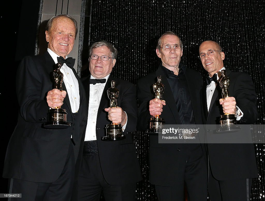 Honorees <a gi-track='captionPersonalityLinkClicked' href=/galleries/search?phrase=George+Stevens+Jr.&family=editorial&specificpeople=680114 ng-click='$event.stopPropagation()'>George Stevens Jr.</a>, D. A. Pennebaker, Hal Needham and <a gi-track='captionPersonalityLinkClicked' href=/galleries/search?phrase=Jeffrey+Katzenberg&family=editorial&specificpeople=171496 ng-click='$event.stopPropagation()'>Jeffrey Katzenberg</a> attend the Academy Of Motion Picture Arts And Sciences' 4th Annual Governors Awards at Hollywood and Highland on December 1, 2012 in Hollywood, California.