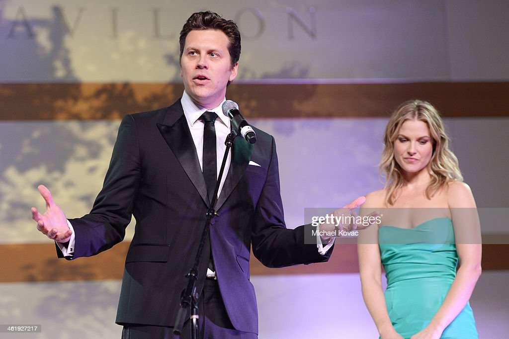 Honorees Hayes MacArthur and Ali Larter speak onstage at The Art of Elysium's 7th Annual HEAVEN Gala presented by MercedesBenz at Skirball Cultural...