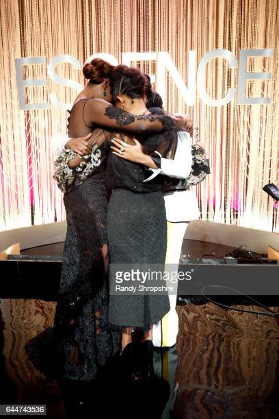 Honorees Issa Rae Aja Naomi King Yara Shahidi and Janelle Monae onstage at Essence Black Women in Hollywood Awards at the Beverly Wilshire Four...