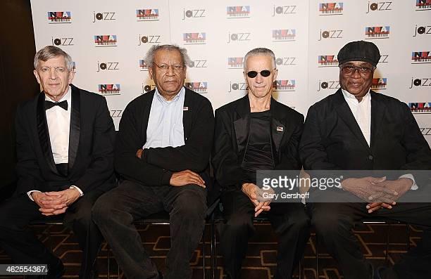 Honorees Jamey Aebersold Anthony Braxton Keith Jarrett and Richard Davis attend the 2014 NEA Jazz Masters Photo Call at Nesuhi Ertegun Jazz Hall of...