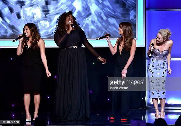 Honorees Jenna Ushkowitz Alex Newell Lea Michele and Becca Tobin perform onstage during the Family Equality Council's 2015 Los Angeles Awards dinner...