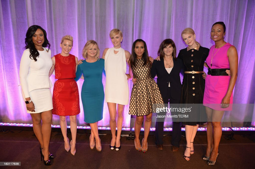 Honorees <a gi-track='captionPersonalityLinkClicked' href=/galleries/search?phrase=Jennifer+Hudson&family=editorial&specificpeople=234833 ng-click='$event.stopPropagation()'>Jennifer Hudson</a>, <a gi-track='captionPersonalityLinkClicked' href=/galleries/search?phrase=Elizabeth+Banks&family=editorial&specificpeople=202475 ng-click='$event.stopPropagation()'>Elizabeth Banks</a>, <a gi-track='captionPersonalityLinkClicked' href=/galleries/search?phrase=Amy+Poehler&family=editorial&specificpeople=228430 ng-click='$event.stopPropagation()'>Amy Poehler</a>, <a gi-track='captionPersonalityLinkClicked' href=/galleries/search?phrase=Charlize+Theron&family=editorial&specificpeople=171250 ng-click='$event.stopPropagation()'>Charlize Theron</a>, <a gi-track='captionPersonalityLinkClicked' href=/galleries/search?phrase=Kerry+Washington&family=editorial&specificpeople=201534 ng-click='$event.stopPropagation()'>Kerry Washington</a>, <a gi-track='captionPersonalityLinkClicked' href=/galleries/search?phrase=Amy+Pascal&family=editorial&specificpeople=207083 ng-click='$event.stopPropagation()'>Amy Pascal</a>, Nicole Kidman and host Aisha Tyler pose onstage at attends Variety's 5th Annual Power of Women event presented by Lifetime at the Beverly Wilshire Four Seasons Hotel on October 4, 2013 in Beverly Hills, California.