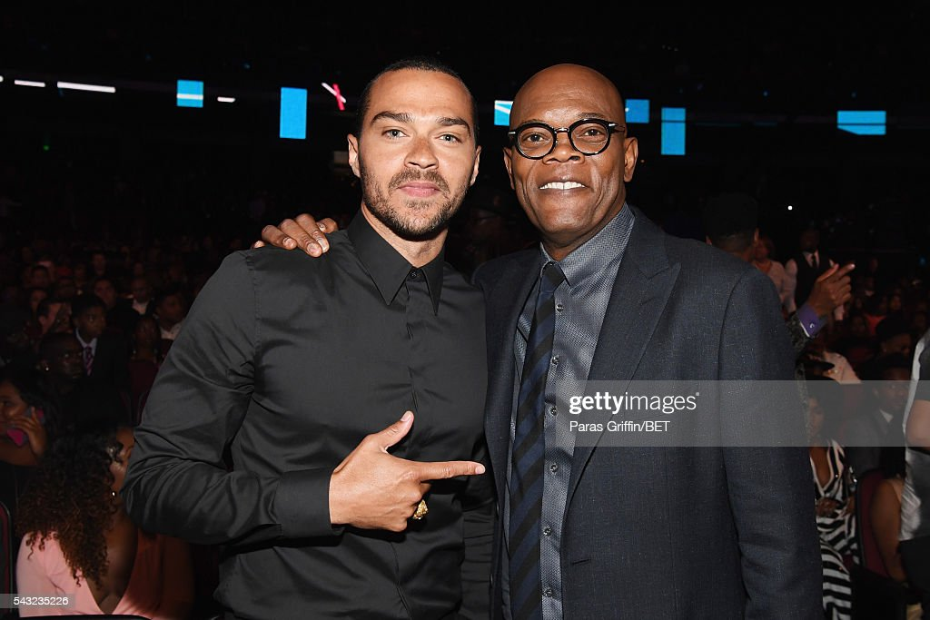 Honorees <a gi-track='captionPersonalityLinkClicked' href=/galleries/search?phrase=Jesse+Williams+-+Actor&family=editorial&specificpeople=7189838 ng-click='$event.stopPropagation()'>Jesse Williams</a> (L) and <a gi-track='captionPersonalityLinkClicked' href=/galleries/search?phrase=Samuel+L.+Jackson&family=editorial&specificpeople=167234 ng-click='$event.stopPropagation()'>Samuel L. Jackson</a> attend the 2016 BET Awards at the Microsoft Theater on June 26, 2016 in Los Angeles, California.