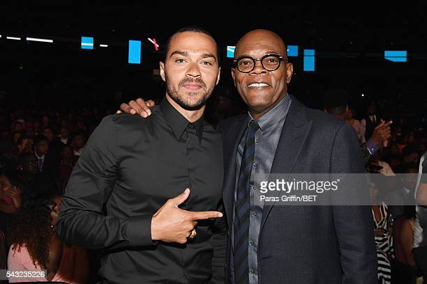 Honorees Jesse Williams and Samuel L Jackson attend the 2016 BET Awards at the Microsoft Theater on June 26 2016 in Los Angeles California