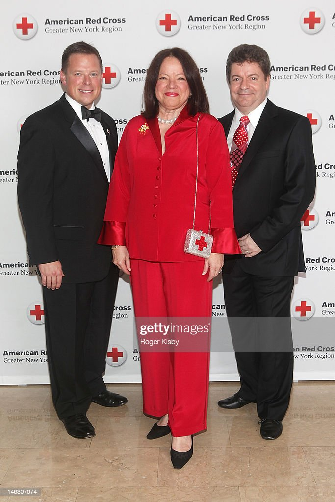 Honorees JetBlue Airways COO Rob Muruster, member of the National American Red Cross Board of Governors Ann Kaplan and Managing Director of Albourne Partners Simon Ruddick attend the 2012 New York Red Cross Ball at The Plaza Hotel on June 13, 2012 in New York City.