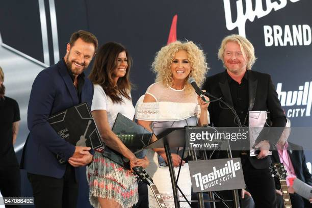 Honorees Jimi Westbrook Karen Fairchild Kimberly Schlapman and Philip Sweet of Little Big Town during the Nashville Music City Walk Of Fame Induction...