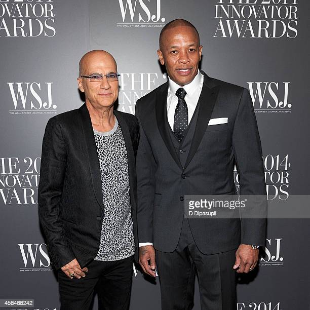 Honorees Jimmy Iovine and Dr Dre attend WSJ Magazine's 'Innovator Of The Year' Awards at the Museum of Modern Art on November 5 2014 in New York City