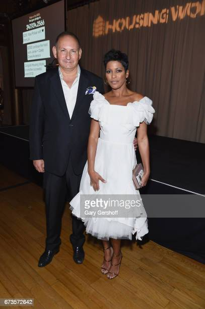 Honorees John Demsey and Tamron Hall pose at the Housing Works Ground Breaker Awards dinner on April 26 2017 in New York City