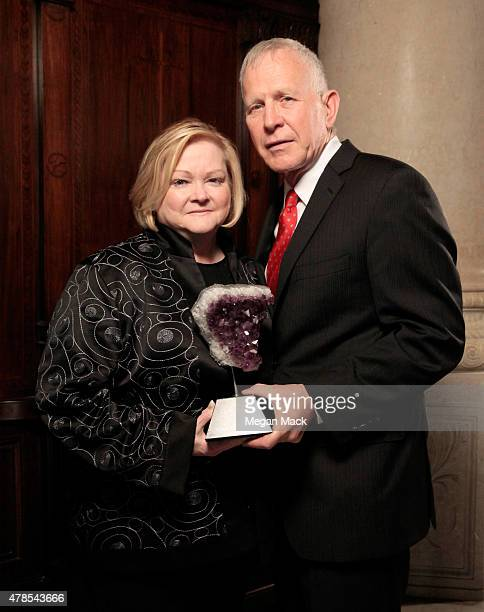 Honorees Judy Shepard and Dennis Shepard pose with award at Logo's 'Trailblazer Honors' 2015 at the Cathedral of St John the Divine on June 25 2015...