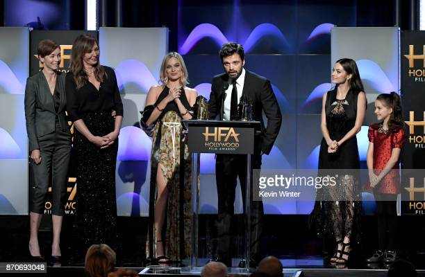 Honorees Julianne Nicholson Allison Janney Margot Robbie Sebastian Stan Caitlin Carver and Mckenna Grace accept the Hollywood Ensemble Award for 'I...