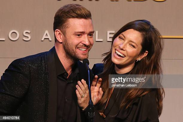 Honorees Justin Timberlake and Jessica Biel accept the Inspiration Award onstage during the 2015 GLSEN Respect Awards at the Beverly Wilshire Four...