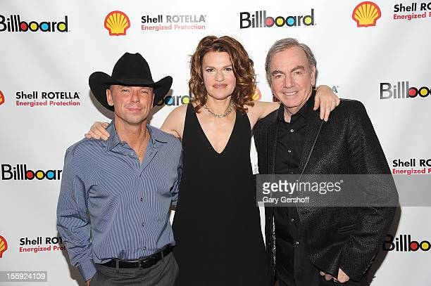 Honorees Kenny Chesney and Neil Diamond with event host Sandra Bernhard attend the 2012 Billboard Touring Awards Reception at The Roosevelt Hotel on...