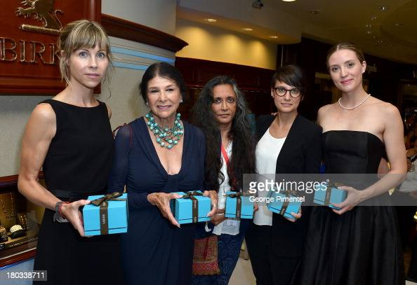 Honorees Louise Archambault Alanis Obomsawin Deepa Mehta Chloe Robichaud and actress Evelyne Brochu attend the Birks Diamond Tribute to the year's...