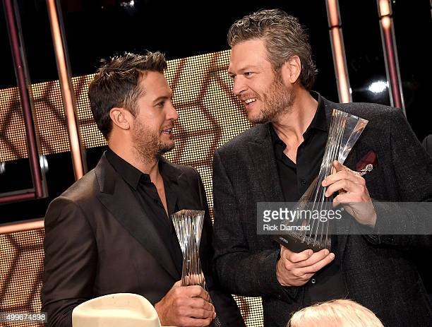 Honorees Luke Bryan and Blake Shelton attend the 2015 'CMT Artists of the Year' at Schermerhorn Symphony Center on December 2 2015 in Nashville...