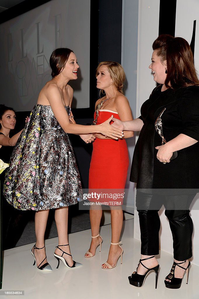 Honorees Marion Cotillard, (L to R) Reese Witherspoon, and Melissa McCarthy attend ELLE's 20th Annual Women In Hollywood Celebration at Four Seasons Hotel Los Angeles at Beverly Hills on October 21, 2013 in Beverly Hills, California.