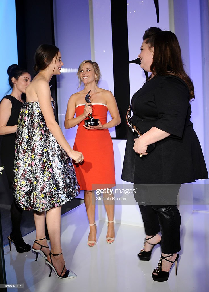 Honorees Marion Cotillard, Reese Witherspoon and Melissa McCarthy pose with award onstage at ELLE's 20th Annual Women In Hollywood Celebration at Four Seasons Hotel Los Angeles at Beverly Hills on October 21, 2013 in Beverly Hills, California.