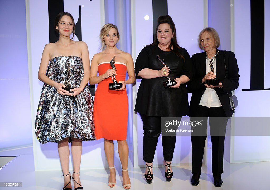 Honorees Marion Cotillard, Reese Witherspoon, Melissa McCarthy and Eva Marie Saint pose with award onstage at ELLE's 20th Annual Women In Hollywood Celebration at Four Seasons Hotel Los Angeles at Beverly Hills on October 21, 2013 in Beverly Hills, California.