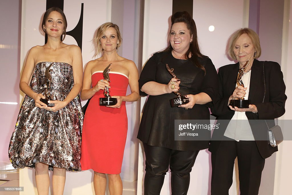Honorees Marion Cotillard, Reese Witherspoon, Melissa McCarthy and Nancy Meyers pose with awards at ELLE's 20th Annual Women In Hollywood Celebration at Four Seasons Hotel Los Angeles at Beverly Hills on October 21, 2013 in Beverly Hills, California.