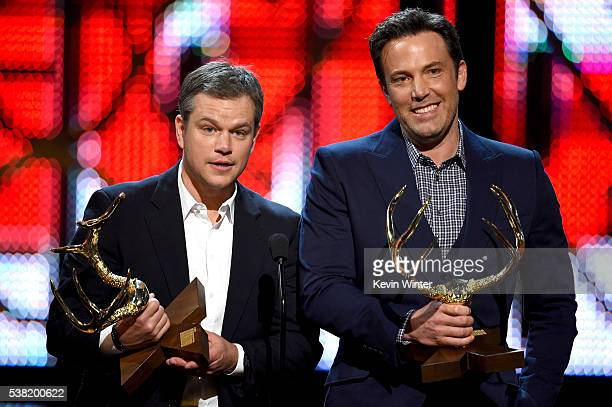 Honorees Matt Damon and Ben Affleck accept the Guys Of The Decade award onstage during Spike TV's 10th Annual Guys Choice Awards at Sony Pictures...