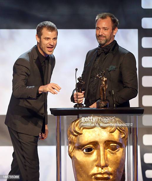 Honorees Matt Stone and Trey Parker accept The Charlie Chaplin Britannia Award for Excellence in Comedy onstage at the 2012 BAFTA Los Angeles...
