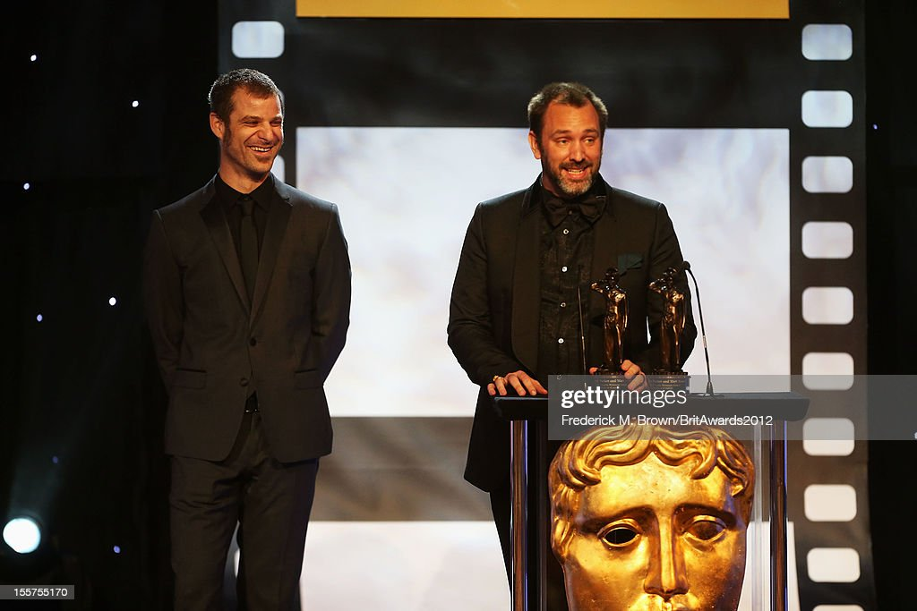 Honorees Matt Stone and Trey Parker accept the Charlie Chaplin Britannia Award for Excellence in Comedy onstage at the 2012 BAFTA Los Angeles Britannia Awards Presented By BBC AMERICA at The Beverly Hilton Hotel on November 7, 2012 in Beverly Hills, California.