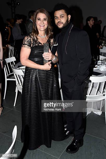 Honorees Melinda Gates and musician The Weeknd accepts the Innovator Award in Music onstage at the WSJ Magazine 2016 Innovator Awards at Museum of...