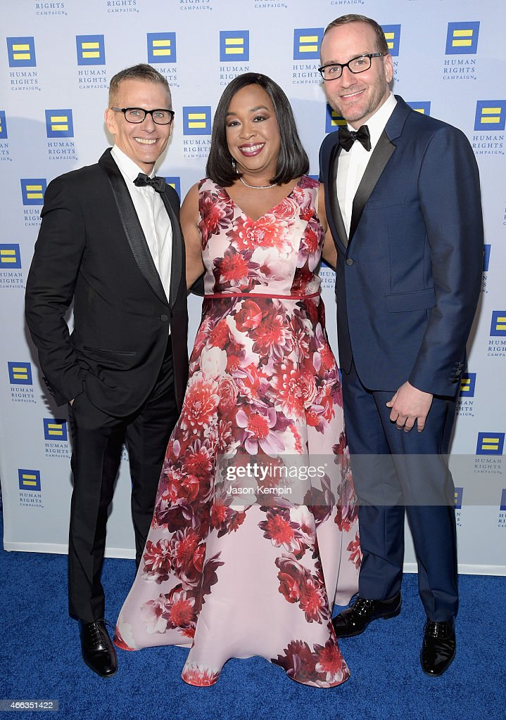 Honorees Michael Lombardo and Shonda Rhimes and Human Rights Campaign President Chad Griffin attend the Human Rights Campaign Los Angeles Gala 2015 at JW Marriott Los Angeles at L.A. LIVE on March 14, 2015 in Los Angeles, California.