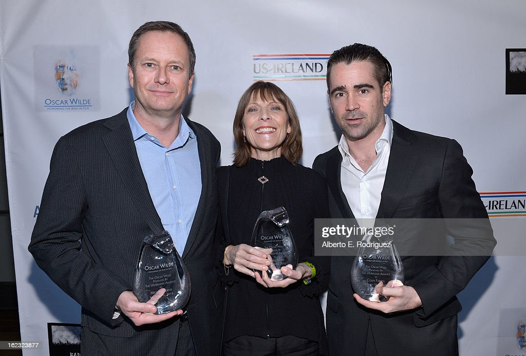 Honorees Michael R. Burns, Vice Chairman of Lions Gate Entertainment's Board of Directors, make-up artist Michele Burke and actor <a gi-track='captionPersonalityLinkClicked' href=/galleries/search?phrase=Colin+Farrell&family=editorial&specificpeople=202154 ng-click='$event.stopPropagation()'>Colin Farrell</a> attend the 8th Annual 'Oscar Wilde: Honoring The Irish In Film' Pre-Academy Awards Event at Bad Robot on February 21, 2013 in Santa Monica, California.
