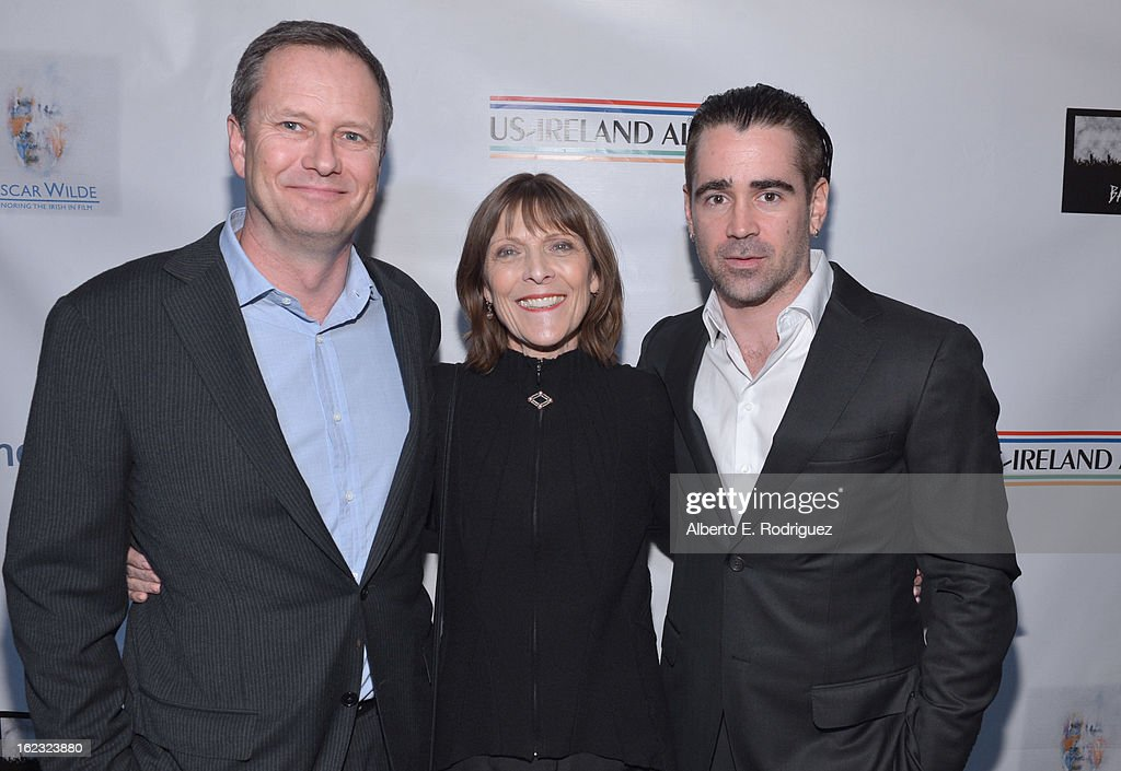 Honorees Michael R. Burns, Vice Chairman of Lions Gate Entertainment's Board of Directors, make-up artist Michele Burke and actor Colin Farrell attend the 8th Annual 'Oscar Wilde: Honoring The Irish In Film' Pre-Academy Awards Event at Bad Robot on February 21, 2013 in Santa Monica, California.