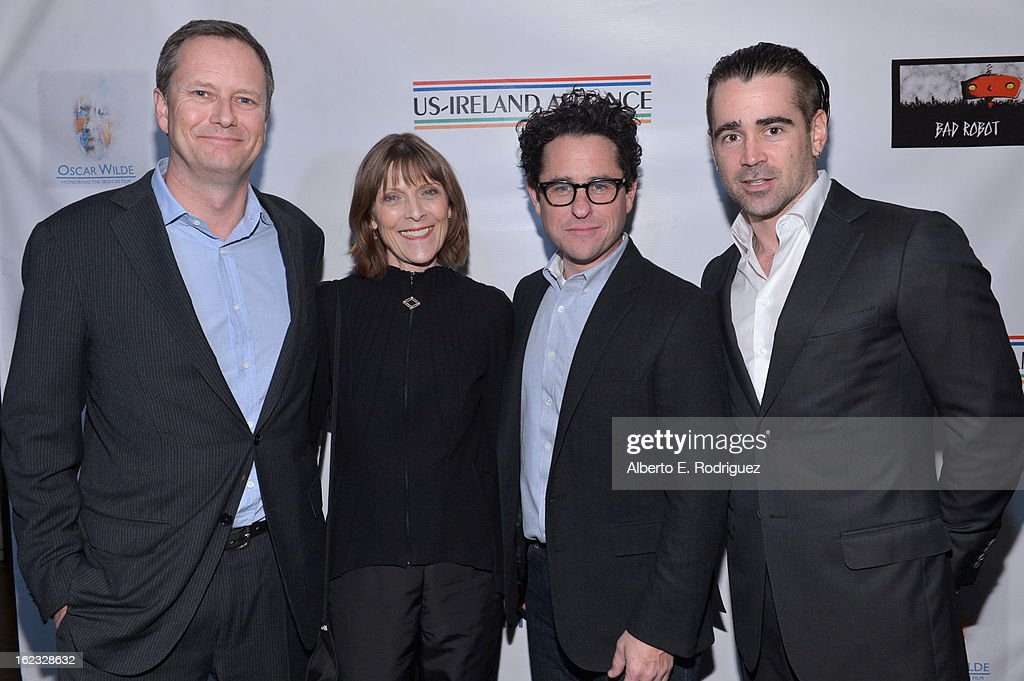 Honorees Michael R. Burns, Vice Chairman of Lions Gate Entertainment's Board of Directors, make-up artist Michele Burke, producer <a gi-track='captionPersonalityLinkClicked' href=/galleries/search?phrase=J.J.+Abrams&family=editorial&specificpeople=253632 ng-click='$event.stopPropagation()'>J.J. Abrams</a> and actor <a gi-track='captionPersonalityLinkClicked' href=/galleries/search?phrase=Colin+Farrell&family=editorial&specificpeople=202154 ng-click='$event.stopPropagation()'>Colin Farrell</a> attend the 8th Annual 'Oscar Wilde: Honoring The Irish In Film' Pre-Academy Awards Event at Bad Robot on February 21, 2013 in Santa Monica, California.