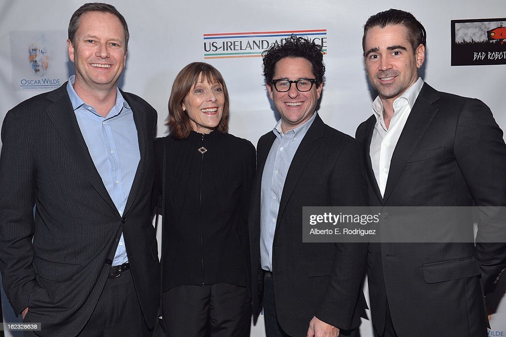 Honorees Michael R. Burns, Vice Chairman of Lions Gate Entertainment's Board of Directors, make-up artist Michele Burke, producer J.J. Abrams and actor Colin Farrell attend the 8th Annual 'Oscar Wilde: Honoring The Irish In Film' Pre-Academy Awards Event at Bad Robot on February 21, 2013 in Santa Monica, California.