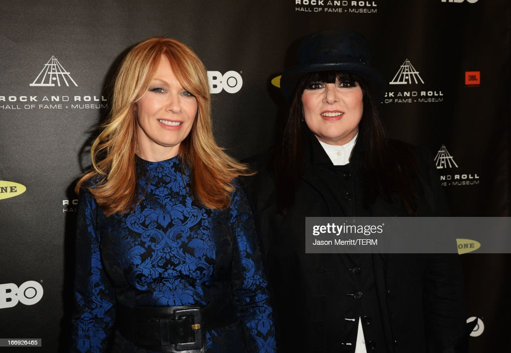 Honorees Nancy Wilson and Ann Wilson of Heart arrive at the 28th Annual Rock and Roll Hall of Fame Induction Ceremony at Nokia Theatre L.A. Live on April 18, 2013 in Los Angeles, California.