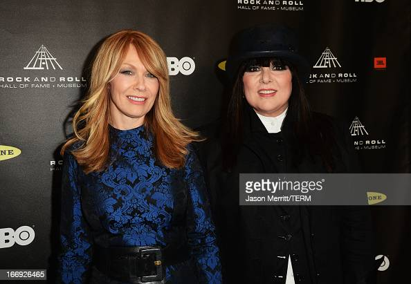 Honorees Nancy Wilson and Ann Wilson of Heart arrive at the 28th Annual Rock and Roll Hall of Fame Induction Ceremony at Nokia Theatre LA Live on...