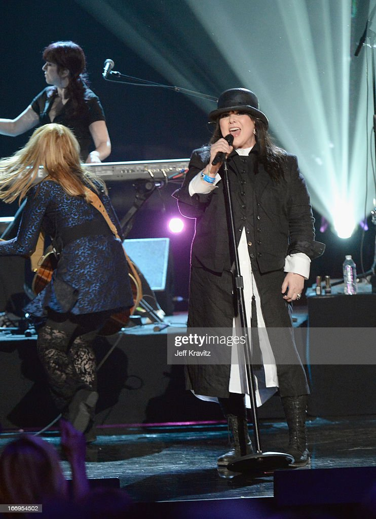 Honorees Nancy Wilson (L) and Ann Wilson of Heart perform at the 28th Annual Rock and Roll Hall of Fame Induction Ceremony at Nokia Theatre L.A. Live on April 18, 2013 in Los Angeles, California.