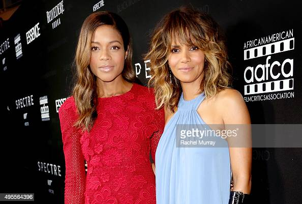 Honorees Naomie Harris and Halle Berry attend the Black Women of Bond Tribute at the California African American Museum on November 3 2015 in Los...