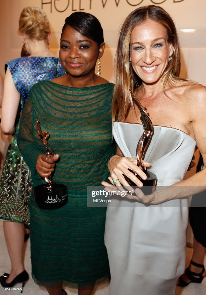 Honorees <a gi-track='captionPersonalityLinkClicked' href=/galleries/search?phrase=Octavia+Spencer&family=editorial&specificpeople=2538115 ng-click='$event.stopPropagation()'>Octavia Spencer</a> (L) and <a gi-track='captionPersonalityLinkClicked' href=/galleries/search?phrase=Sarah+Jessica+Parker&family=editorial&specificpeople=201693 ng-click='$event.stopPropagation()'>Sarah Jessica Parker</a> attend ELLE's 19th Annual Women In Hollywood Celebration at the Four Seasons Hotel on October 15, 2012 in Beverly Hills, California.