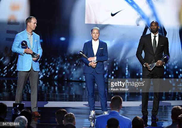 Honorees Peyton Manning Abby Wambach and Kobe Bryant accept the Icon Award onstage during the 2016 ESPYS at Microsoft Theater on July 13 2016 in Los...