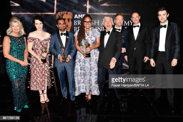 Honorees pose with their awards and BAFTA Executives CEO of BAFTA Los Angeles Chantal Rickards Claire Foy with Britannia Award for British Artist of...